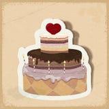 Tarjeta del vintage con una torta el día de tarjeta del día de San Valentín Imagen de archivo libre de regalías