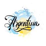 Tarjeta del vintage de la Argentina - el ejemplo del vector del cartel, colores de la bandera de la Argentina, efectos del grunge Imagen de archivo libre de regalías
