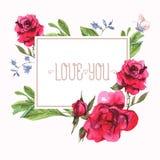 Tarjeta del vintage de la invitación de la acuarela con la floración ilustración del vector