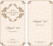 Tarjeta del vintage de la invitación de la boda con los elementos decorativos florales y antiguos Imagen de archivo libre de regalías