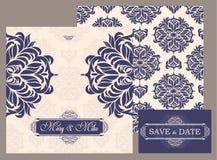 Tarjeta del vintage de la invitación de la boda con los elementos decorativos florales y antiguos Fotos de archivo libres de regalías