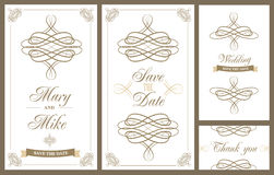Tarjeta del vintage de la invitación de la boda con los elementos decorativos florales y antiguos Imágenes de archivo libres de regalías