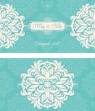 Tarjeta del vintage de la invitación de la boda con los elementos decorativos florales y antiguos Fotos de archivo