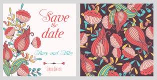 Tarjeta del vintage de la invitación de la boda con los elementos decorativos florales y antiguos Foto de archivo libre de regalías