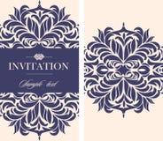 Tarjeta del vintage de la invitación de la boda con los elementos decorativos florales y antiguos Fotografía de archivo