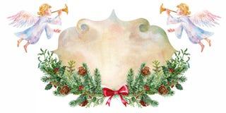 Tarjeta del vintage de la Navidad Ángeles de la Navidad, picea de la guirnalda Decoraciones de la Navidad watercolor stock de ilustración