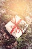 Tarjeta del vintage de la Navidad Caja de regalo festiva, ramas coníferas a Imágenes de archivo libres de regalías
