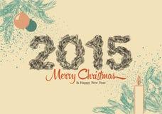 Tarjeta del vintage de la Navidad 2015, hecho de ramas del pino Ilustración del vector Fotografía de archivo