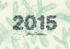 Tarjeta del vintage de la Navidad 2015, hecho de ramas del pino Ilustración del vector Fotografía de archivo libre de regalías