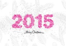 Tarjeta del vintage de la Navidad 2015, hecho de ramas del pino Ilustración del vector Foto de archivo libre de regalías
