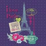 Tarjeta del vintage de París Fotografía de archivo