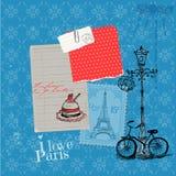 Tarjeta del vintage de París con los sellos Fotos de archivo libres de regalías