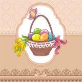 Tarjeta del vintage de Pascua con la cesta y los huevos ilustración del vector