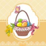 Tarjeta del vintage de Pascua con la cesta y los huevos libre illustration