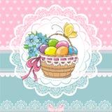 Tarjeta del vintage de Pascua con la cesta y los huevos stock de ilustración