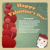 Tarjeta del vintage para el día de tarjeta del día de San Valentín Imágenes de archivo libres de regalías
