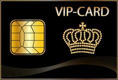 Tarjeta del VIP con una corona de oro Fotos de archivo