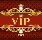 Tarjeta del VIP en el rojo, vector del fondo de la joyería Fotos de archivo libres de regalías
