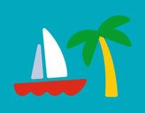 Tarjeta del yate y de la palma ilustración del vector