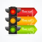Tarjeta detallada realista de la bandera de la luz del tráfico por carretera 3d Vector ilustración del vector