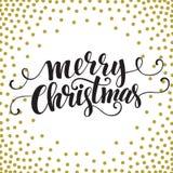 Tarjeta dibujada mano de la tipografía Feliz Navidad Fotografía de archivo libre de regalías