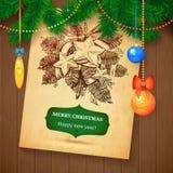 Tarjeta dibujada mano del bosquejo de Vecrot de la Navidad para el diseño de Navidad con las bolas Foto de archivo libre de regalías