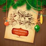Tarjeta dibujada mano del bosquejo de Vecrot de la Navidad para el diseño de Navidad con las bolas Fotografía de archivo libre de regalías