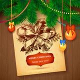 Tarjeta dibujada mano del bosquejo de Vecrot de la Navidad para el diseño de Navidad con las bolas Imágenes de archivo libres de regalías