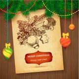 Tarjeta dibujada mano del bosquejo de Vecrot de la Navidad para el diseño de Navidad con las bolas Fotografía de archivo