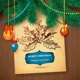 Tarjeta dibujada mano del bosquejo de Vecrot de la Navidad para el diseño de Navidad con las bolas Imagen de archivo