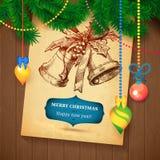 Tarjeta dibujada mano del bosquejo de Vecrot de la Navidad para el diseño de Navidad con las bolas Fotos de archivo