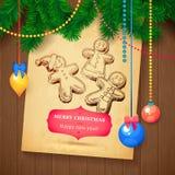 Tarjeta dibujada mano del bosquejo de Vecrot de la Navidad para el diseño de Navidad con las bolas Fotos de archivo libres de regalías