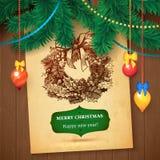 Tarjeta dibujada mano del bosquejo de Vecrtor de la Navidad para el diseño de Navidad con las bolas Imagen de archivo libre de regalías