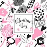 Tarjeta dibujada mano del día de tarjetas del día de San Valentín con los elementos románticos Amor Memphis Background del inconf Foto de archivo libre de regalías