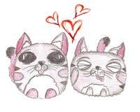 Tarjeta dibujada mano del día de Valentaines Quiera los gatitos Imagen de archivo