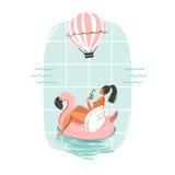 Tarjeta dibujada mano del ejemplo del tiempo de verano de la diversión del extracto del vector con la natación de la muchacha en  Imagen de archivo libre de regalías
