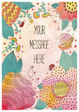 Tarjeta dibujada mano del saludo del vector con las flores Foto de archivo