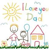 Tarjeta dibujada mano para el día de padres ilustración del vector
