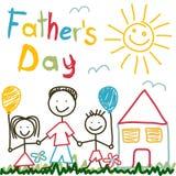 Tarjeta dibujada mano para el día de padres libre illustration