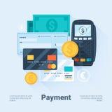 Tarjeta, dinero, monedas y cheque Concepto de las formas de pago Estilo plano con las sombras largas Limpie el diseño Imagenes de archivo