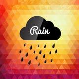 Tarjeta diseñada retra del diseño de la nube de lluvia del otoño Imagen de archivo libre de regalías