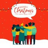 Tarjeta diversa del grupo de la gente de la Navidad y del Año Nuevo ilustración del vector