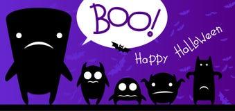 Tarjeta divertida de Halloween de los monstruos Imagenes de archivo