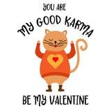 Tarjeta divertida del día de tarjeta del día de San Valentín con el gato stock de ilustración