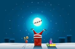 Tarjeta divertida - la Feliz Navidad y la Feliz Año Nuevo, Papá Noel se pegaron en la chimenea en el tejado stock de ilustración