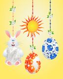 Tarjeta divertida Pascua feliz ilustración del vector