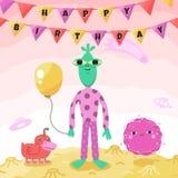 Tarjeta divertida y linda de la fiesta de cumpleaños del espacio de felicitación con los extranjeros y los monstruos de la histor Imagen de archivo