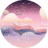 Tarjeta dreamlike rosada del paisaje ilustración del vector