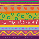 Tarjeta drenada mano de la tarjeta del día de San Valentín Fotos de archivo