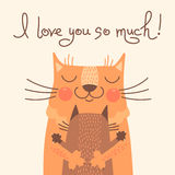 Tarjeta dulce para el día de padres con los gatos Imagen de archivo libre de regalías
